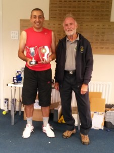 Simon receiving trophy from Tony, Club President